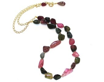 Rainbow Tourmaline Necklace Tourmaline Nugget Necklace Tourmaline Jewelry Rainbow Necklace Chunky Necklace Long Necklace Gift for Her