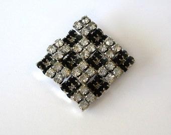 Vintage Checkerboard layered Clear Black Rhinestone Brooch Pin