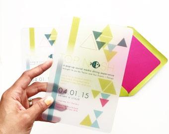 Bright Geometric Plastic Invitations
