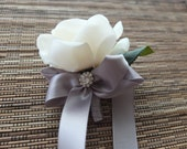 White & Grey Boutonniere, White Rose with grey ribbon and rhinestone accent