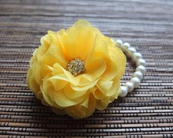 Wrist corsage, Yellow Chiffon Rose corsage, Yellow corsage