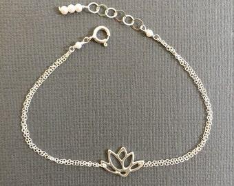 Silver Lotus Charm Bracelet, Lotus Pendant bracelet, Dainty Bracelet, Silver Bracelet, Jewelry.