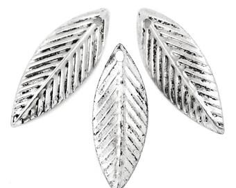 50 Pieces Antique Silver Leaf Charms Pendants 21x7.5mm