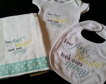 Custom embroidered baby gift set, Your First Breath, bib onesie burp cloth