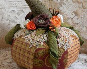 Halloween pumpkin, brocade, upholstery fabric, vintage doily, hm roses, leaves, ecs. handmade