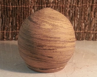 READY TO SHIP - Pottery Cremation Urn - Wheel Thrown Clay - Funerary Cremains Jar For Family Member or Pet Ashes - Egg - Up to 24lbs