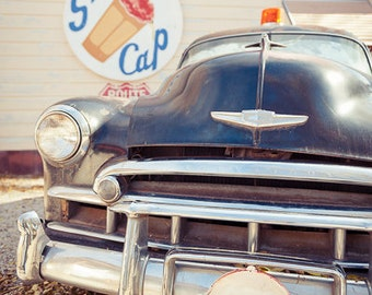 Vintage Chevy at Snow Cap Diner on Route 66, photo, chevrolet, classic car vertical color photograph 8x12, 12x18, 16x24