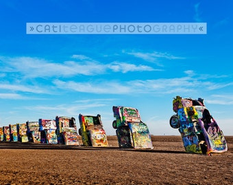 Cadillac Ranch, public art installation in Texas, americana, classic car horizontal color photograph 8x12, 12x18, 16x24
