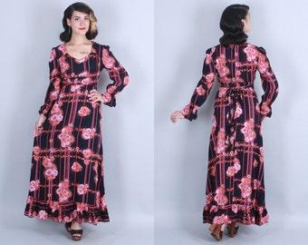 1970s POPPY Maxi Dress | Vintage 70s Dark Floral Print RAYON Bohemian Dress | small