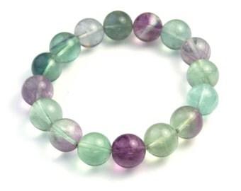 fluorite bracelet, rainbow fluorite bracelet, colorful gemstone bracelet, elastic wire bracelet, assorted color jewelry, simple bracelet