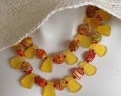 Multi Strand Bib Necklace, Chunky Statement Necklace, Yellow Orange Millefiori, Marigold Trapezoid Resin, .925 Sterling Silver