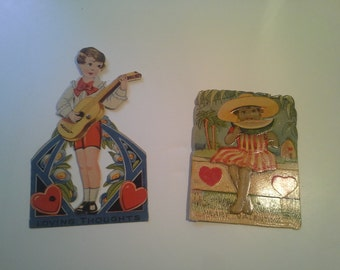 Two vintage Die-Cut Valentines Day Cards .. one mechanical ..one made in Germany.. sweet and petite