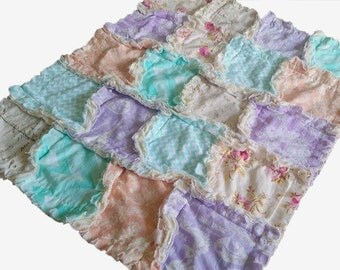 Ready To Ship -  Modern Rag Quilt  - Spring