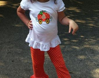 Fall-Tastic Pumpkin Carriage with Matching Ruffled Polka Dot Pants