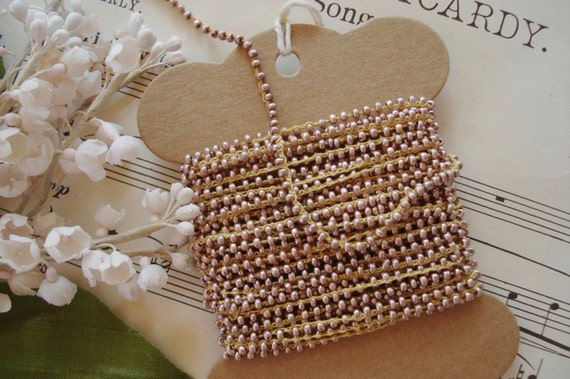 1y Antique German Rose Pink Mauve Glass Seed Bead