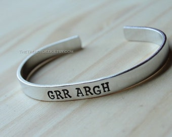 Grr Argh Buffy Inspired Hand Stamped Cuff Bracelet