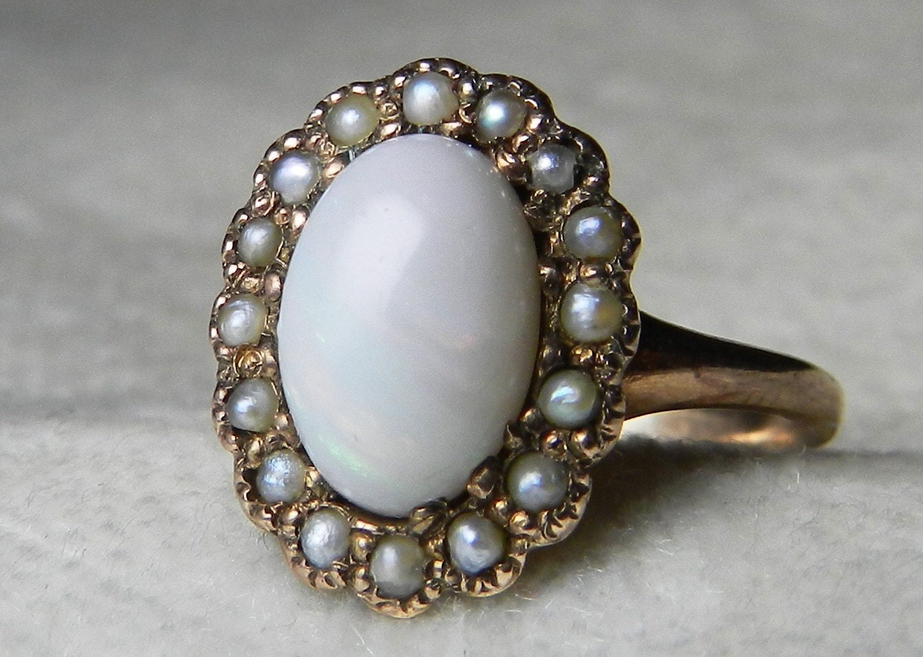 Opal Engagement Ring 1800s Victorian Opal Seed Pearl Ring