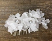 Arden silk flower and silver rhinestone hair piece on comb, multiple flowers