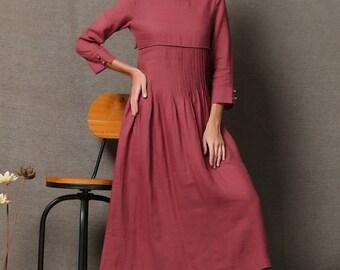 Maxi linen dress, long sleeves dress, womens dress, day dress, pintuck dress, raspberry red dress, autumn dress, loose fitting dress C550