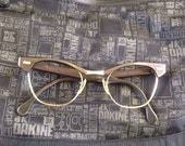 US Optical grayish brown cateye eyeglasses frames with Gold 12k gold filled details at rectangle detail at temple vintage 1960's 46-22-146