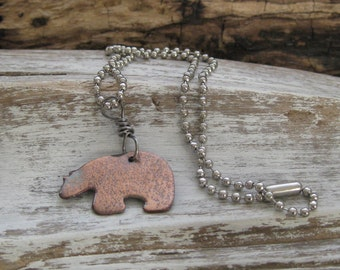 Bear totem necklace in copper
