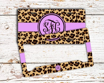 Cheetah auto accessories, Custom car license plate or frame, Purple cheetah, Cute Girls auto tag, Monogram bicycle license for girls  (1433)