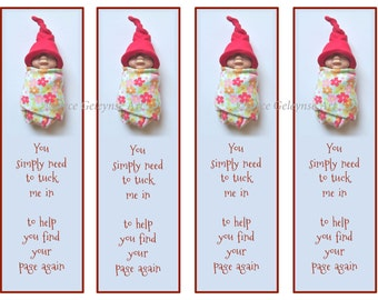 Printable Bookmarks, Clay Babies, Tuck Me In To Find Your Page Again: Polymer Clay, Elf Hat, Reading, Party Favors, You Print