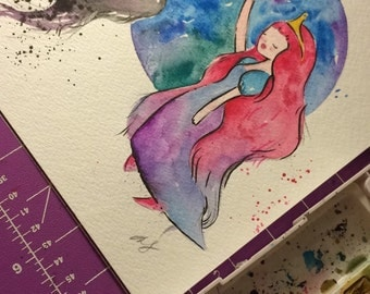 ORIGINAL PAINTING Marceline the Vampire Queen and Princess Bubblegum 8x10 inches / Adventure Time Fan Art