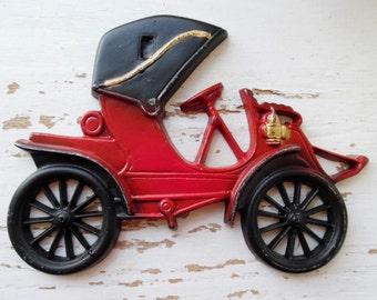 Car, Wall Plaque, Midwest Co, Cast Metal, Wall Hangings, Vintage, Antique Looking Car, Wall Décor, Boy's Room, Red, Black