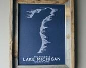 Michigan's Lake Michigan Coastline Word Map (Dark Blue)