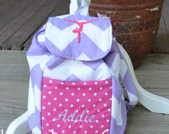 Handmade gymnastic mini backpack (made with purple chevron and hot pink polka dots)