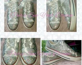 Gorgeous Custom Converse Wedding Bridal Shoes - Swarovski Crystal Shoes - Rhinestone Shoes
