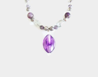 PURPLE PENDANT NECKLACE with silver, purple, clear beads
