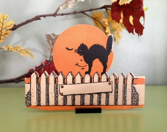 Vintage Halloween Place Card Black Cat on Fence Man in the Moon Antique Halloween 1930s Halloween Display Decor Collectible
