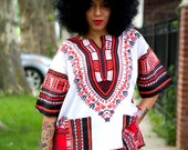 Unisex Dashiki White Pink Coral Red African Shirt - Kings and Queens