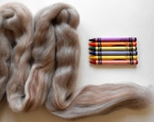 MERINO WOOL TOP  - 2 ounces - Variegated Tan and Gray - from Purple Moose Felting