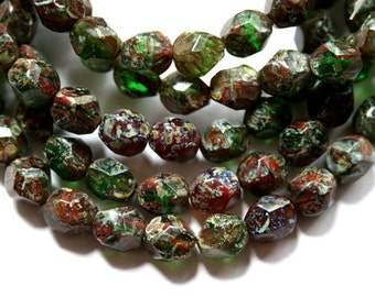 8 mm Red and Green Authentic Czech Potato Picasso Faceted Beads