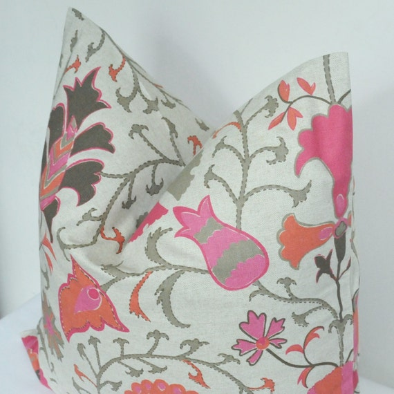 Pink Pillow Cover Pink Suzani Pink Floral Pillow by UrbanPillow