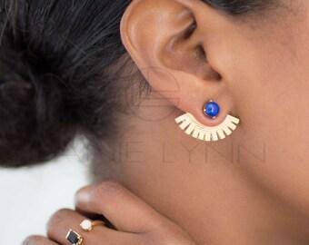 Lapis Ear Wings Ear Jackets, Ear Cuffs, Gold Ear Cuffs, Lanie Lynn Vintage Inspired Jewelry/ Lapis Ear Jackets,  Interchangeable Earrings