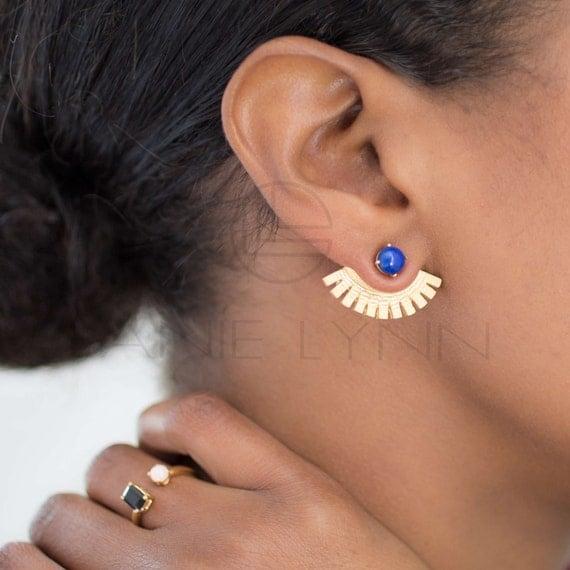 Items similar to Lapis Ear Wings Ear Jackets, Ear Cuffs ...