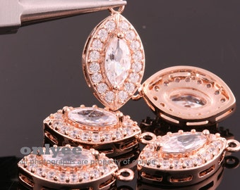 2pcs-21mmX12mmRose Gold plated (clear)LUX Cubic zirconiaCZ marquise charms, pendants, fine jewelry designs,wedding jewelry(K011R)