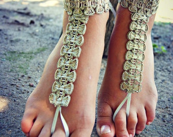 Gold lace trim BAREFOOT sandles, barefoot sandal, boho barefoot sandals, sparkling anklet jewelry, foot thongs, bottomless shoes