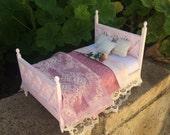 Shabby Chic/French/Cottage Double Bed - Dollhouse Miniature
