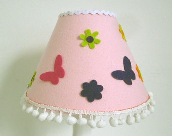Pink, Fuzzy Felt Effect Lampshade (Fun To Decorate and Personalise Yourself!)