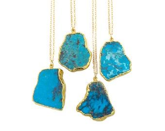 Raw Turquoise Necklace, Turquoise Necklace Gold, Turquoise Pendant