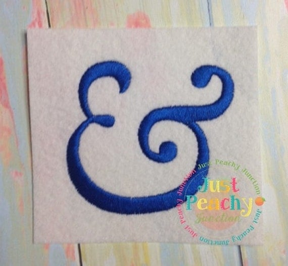 Ampersand in satin stitching machine embroidery design for Ampersand decoration etsy