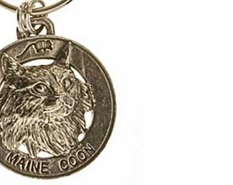 Pewter ~ Maine Coon Cat Keychain ~ CK005