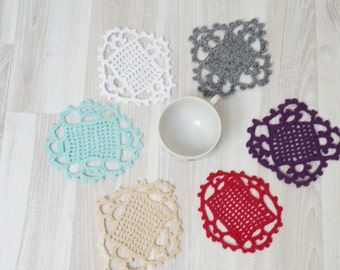 Doilies set of 6 crochet Coaster mat pad square purple pink white mint green gray beige table placemat doily small tiny miniature knitted