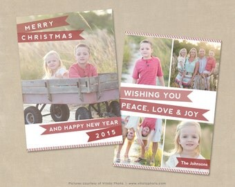 Christmas Card Template 5x7 flat card Photoshop Template