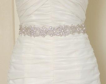 RYLEE - Crystal Bridal Belt Sash - Rhinestone wedding gown sash - Wedding Dress Belt